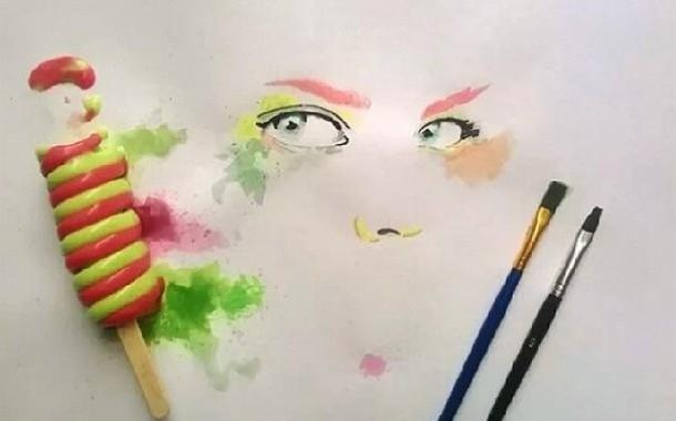 مبدع عراقي يرسم بواسطة الآيسكريم